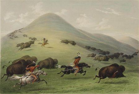 Chasse aux bisons, George Catlin, 1844